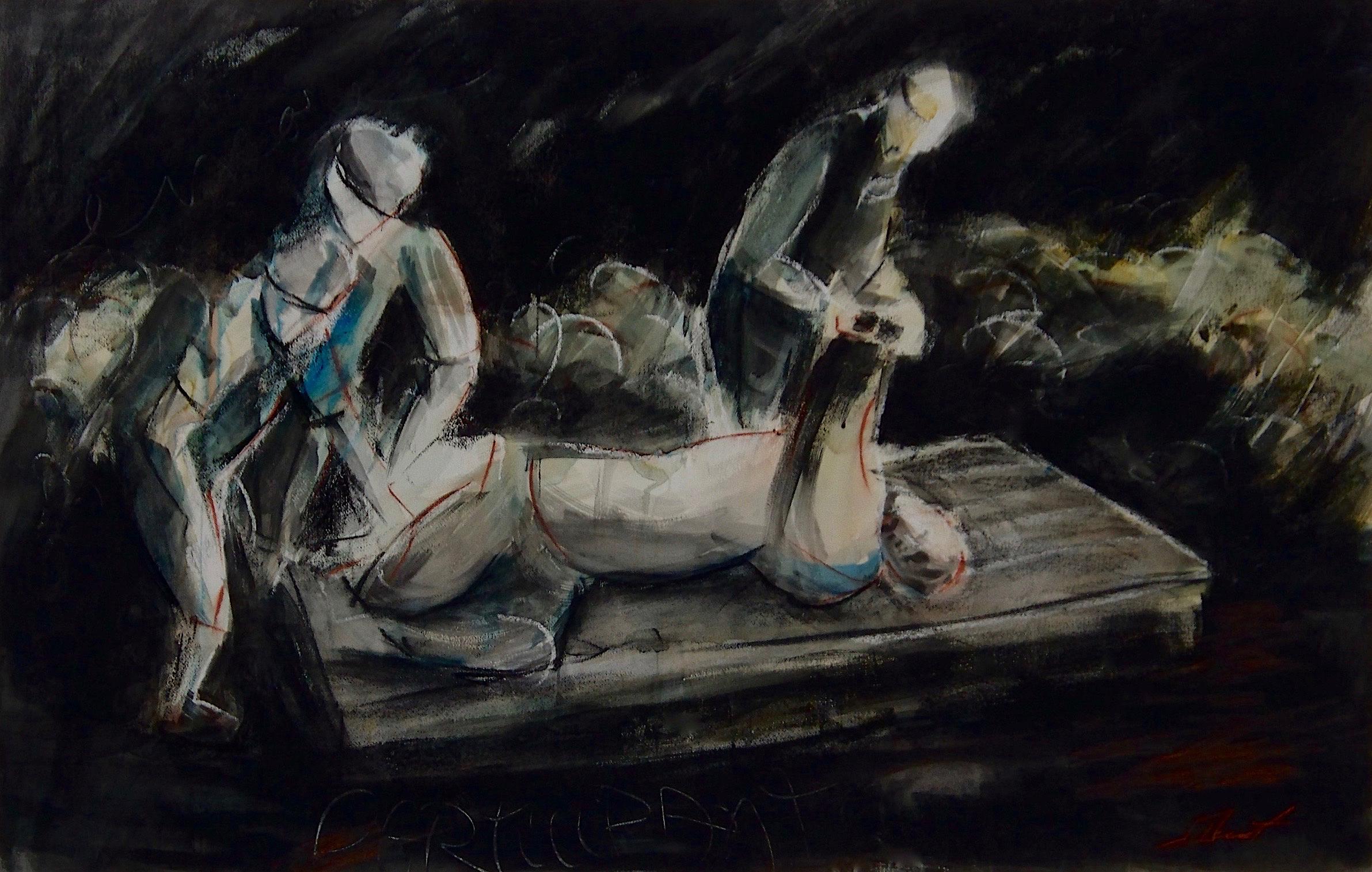 Encore participants, 1986. Technique mixte sur papier, 80 x 125 cm.