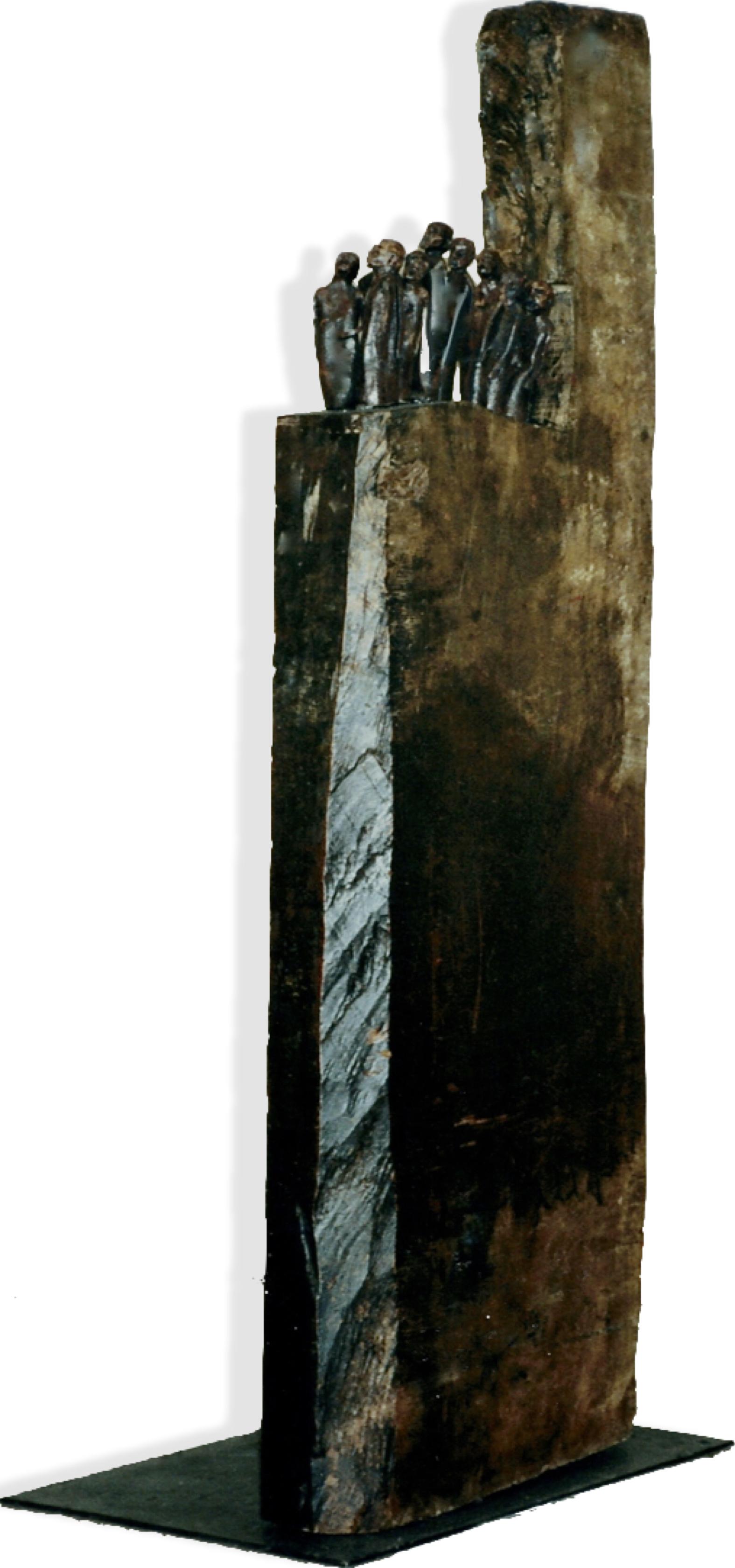 L'exode, 2000, Huile sur bois, céramique, métal, 152 x 55 x 35.5 cm.