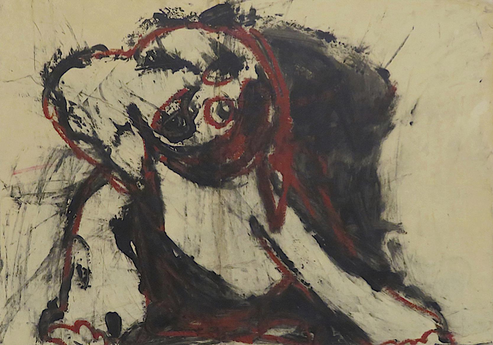 De la série « métamorphoses », 2014. Technique mixte sur papier, marouflé sur panneau de bois, 55 x 78 cm.