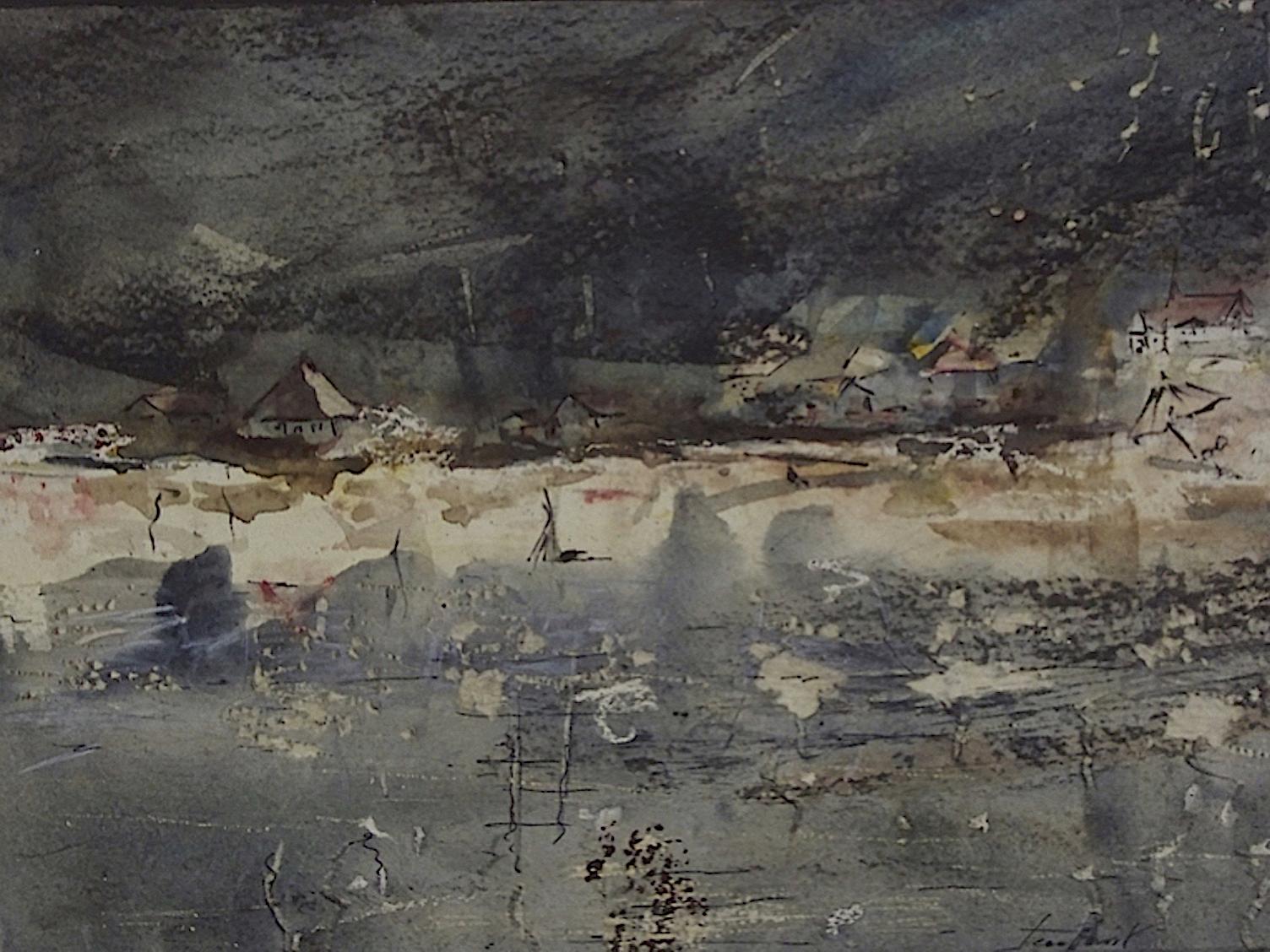 Paysage de Bretagne II. 2007. Technique mixte, marouflé sur panneau de bois, 24 x 32 cm.