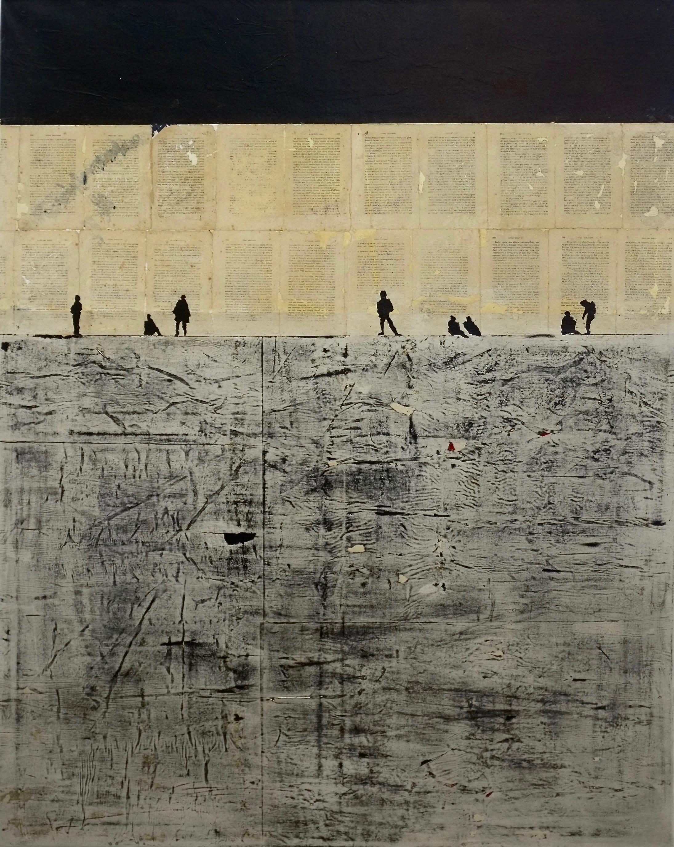 Murs et écritures - 2017 - Technique mixte sur papier, marouflé sur toile -150 x 120 cm