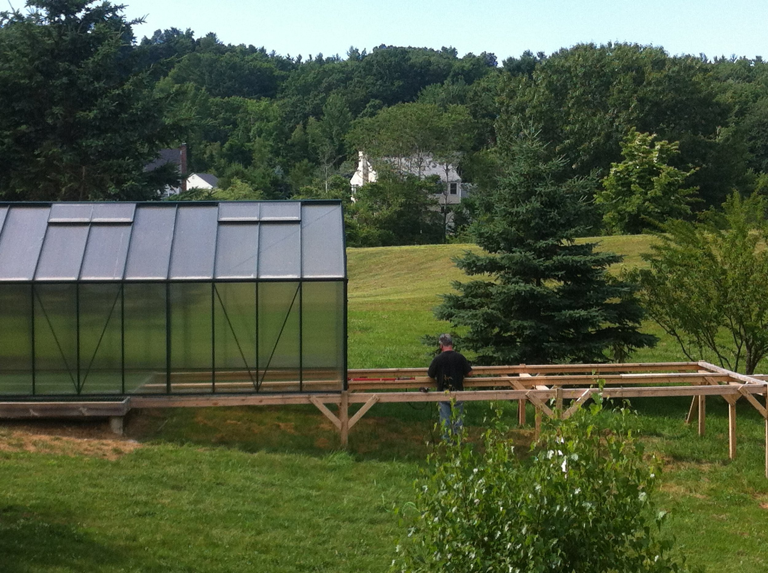 Upgrades to greenhouse: grated flooring for airflow; wire mesh to deter pests; direct water line -