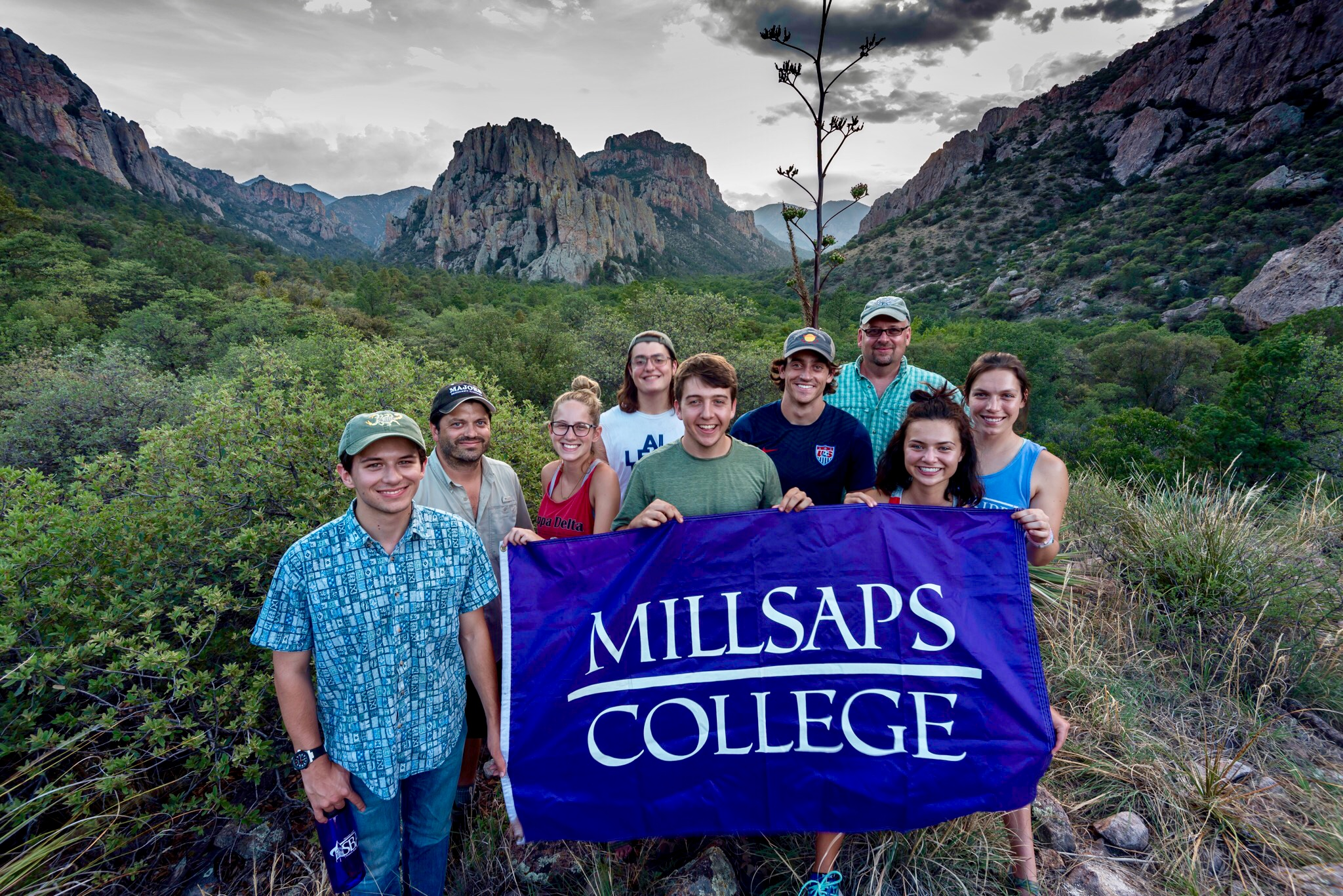 Cathedral Vista, Chiricahua Mountains. Photo by B.E. Hendrixson (second from left) with me looming behind a great group of students.