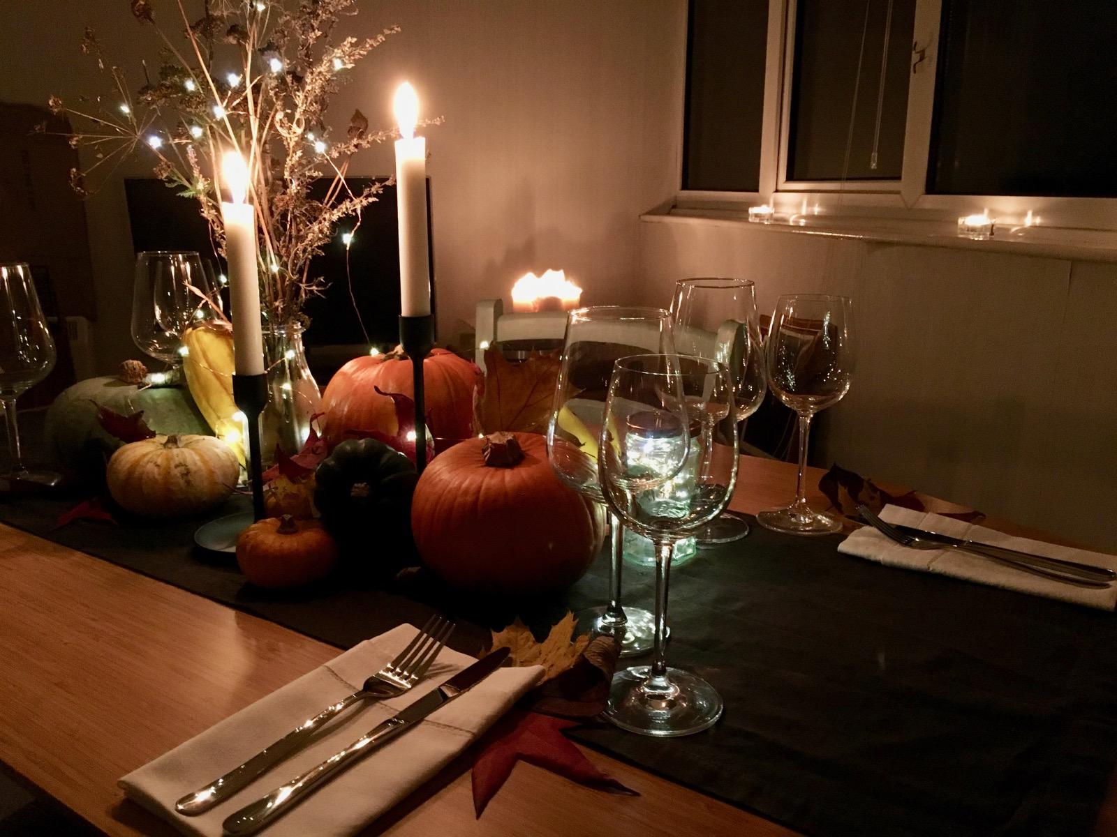 Autumn Candlelit Table Setting