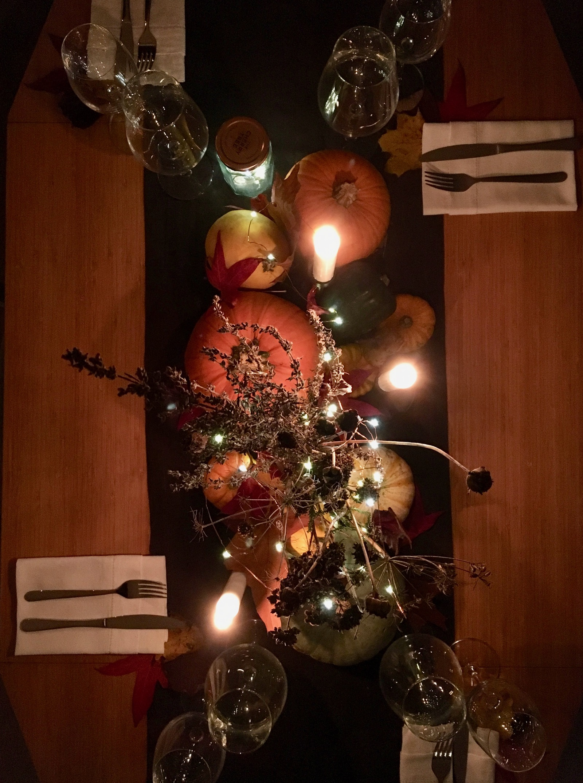 Autumn Candlelit Table Setting Flatlay
