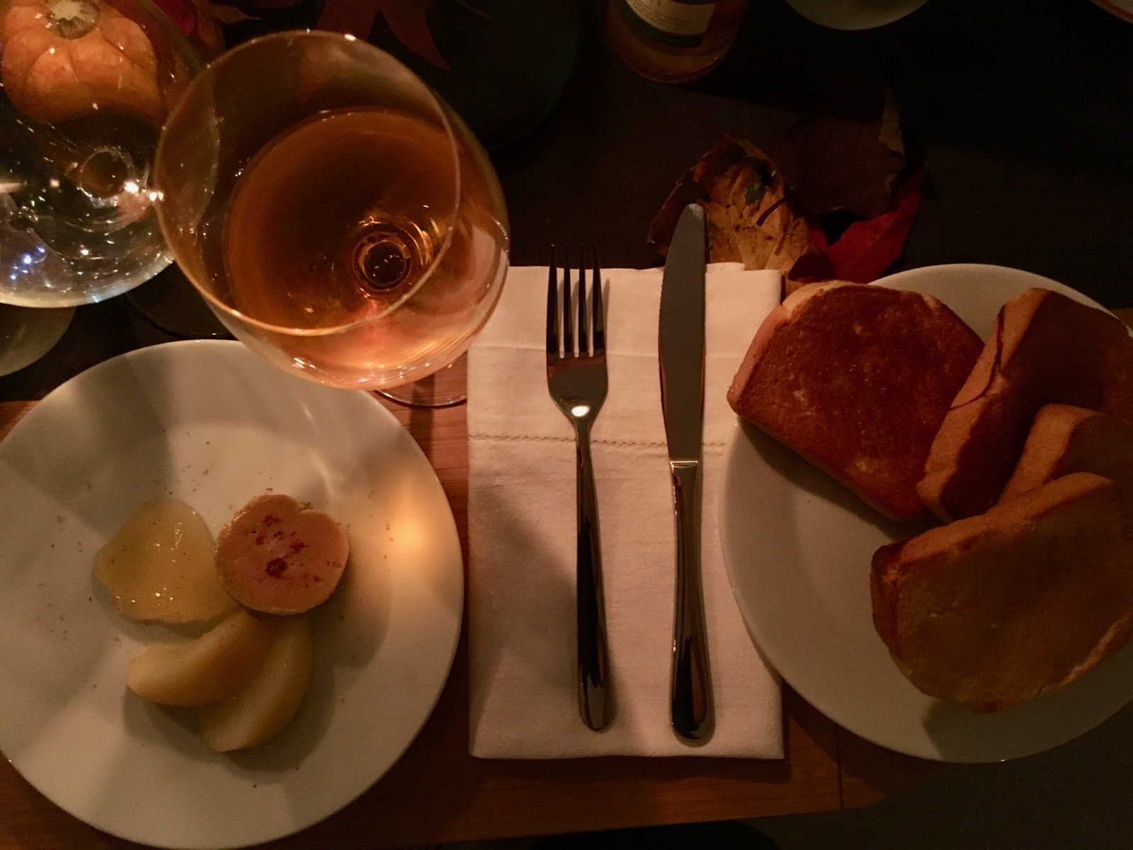 Foie gras duck liver with pear, brioche and Once Upon a Tree Pear ice wine