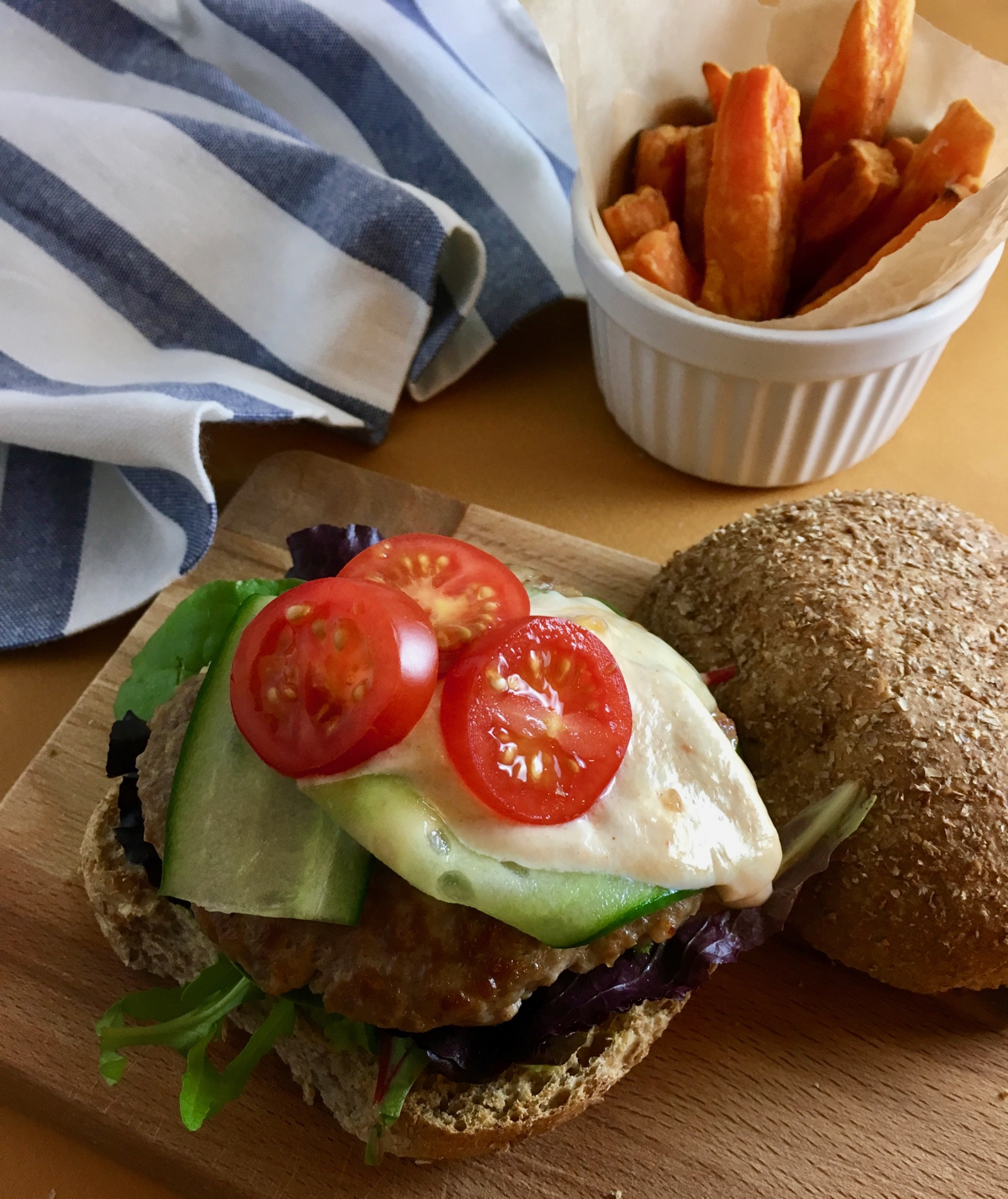 Groovy Food Turkey Burger with Mango Yoghurt and Sweet Potato Fries