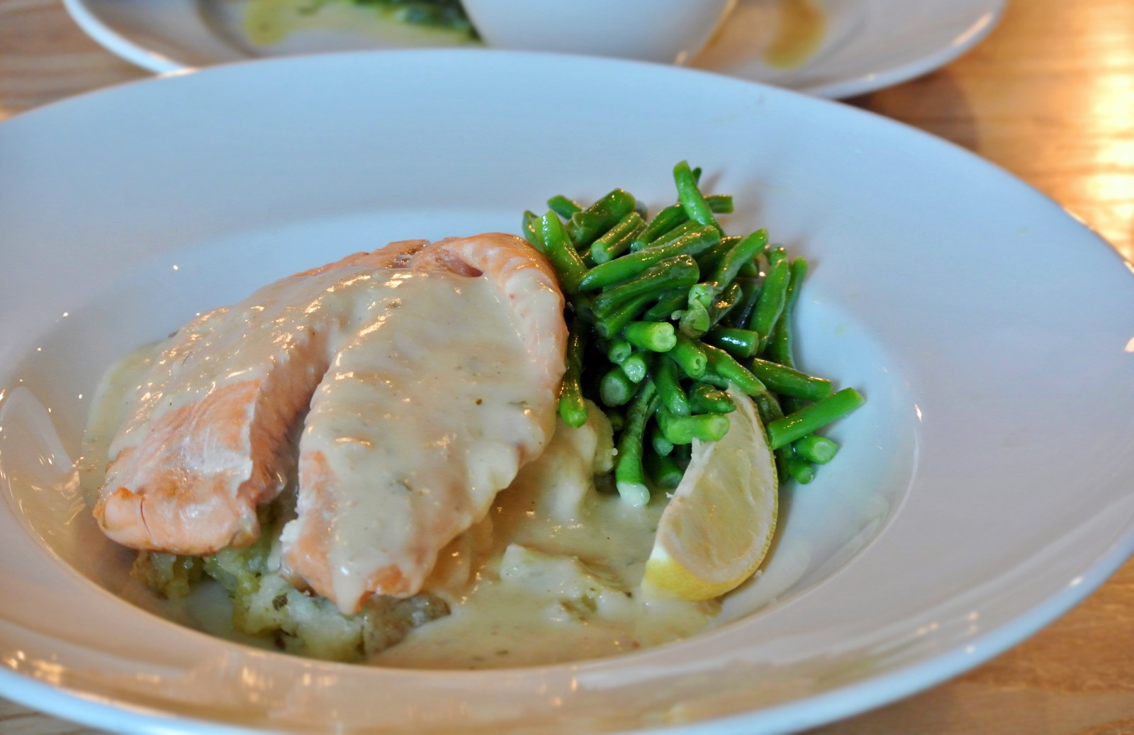 Oldbury Cookhouse and Pub Salmon with Prosecco sauce - Christmas Menu