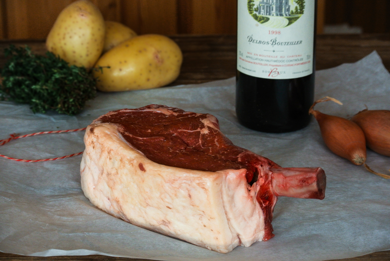 21 day aged aberdeen angus beef rib and a red bordeaux