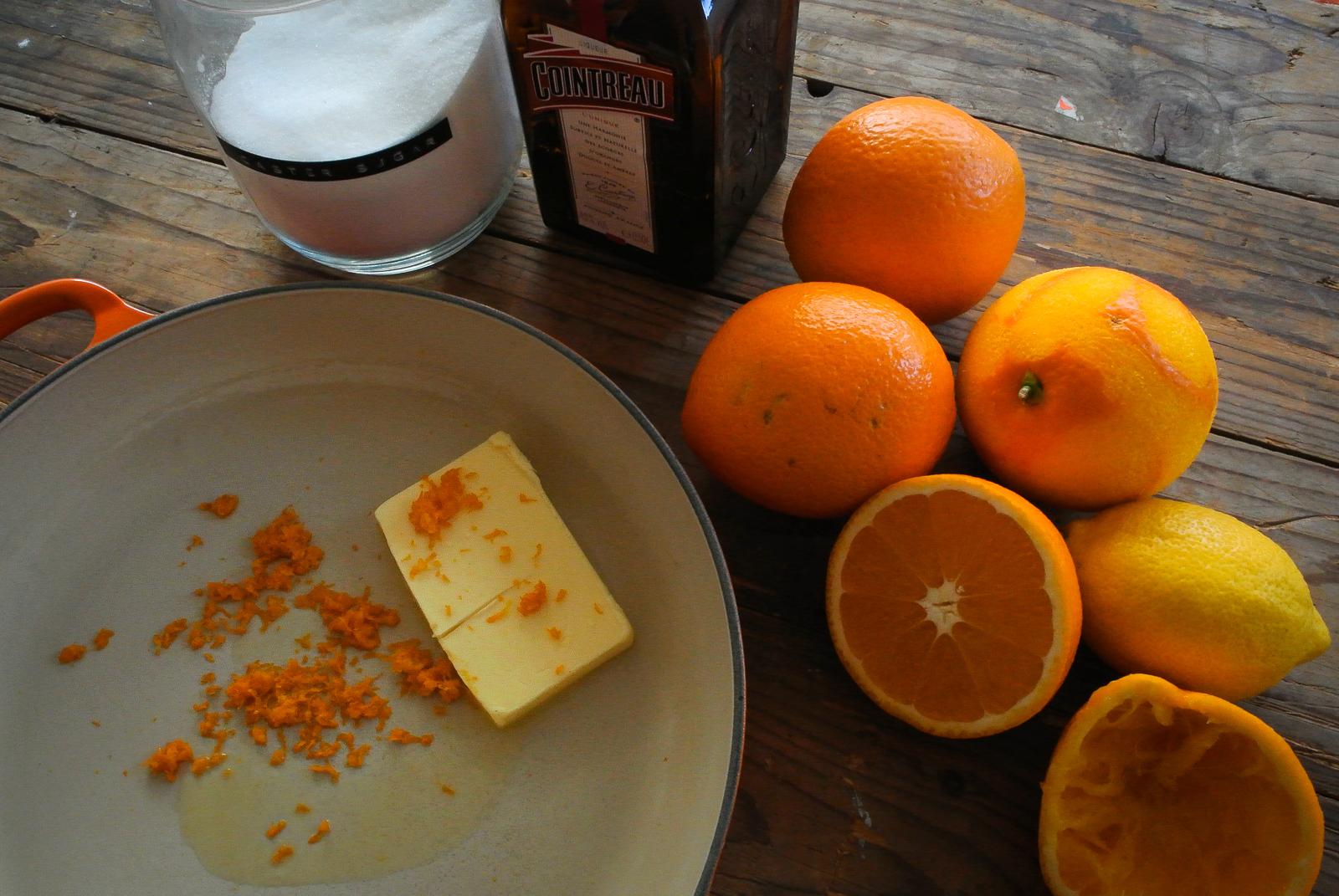 Crêpes Suzette Ingredients - Oranges, Lemon, Caster Sugar, Cointreau, Butter