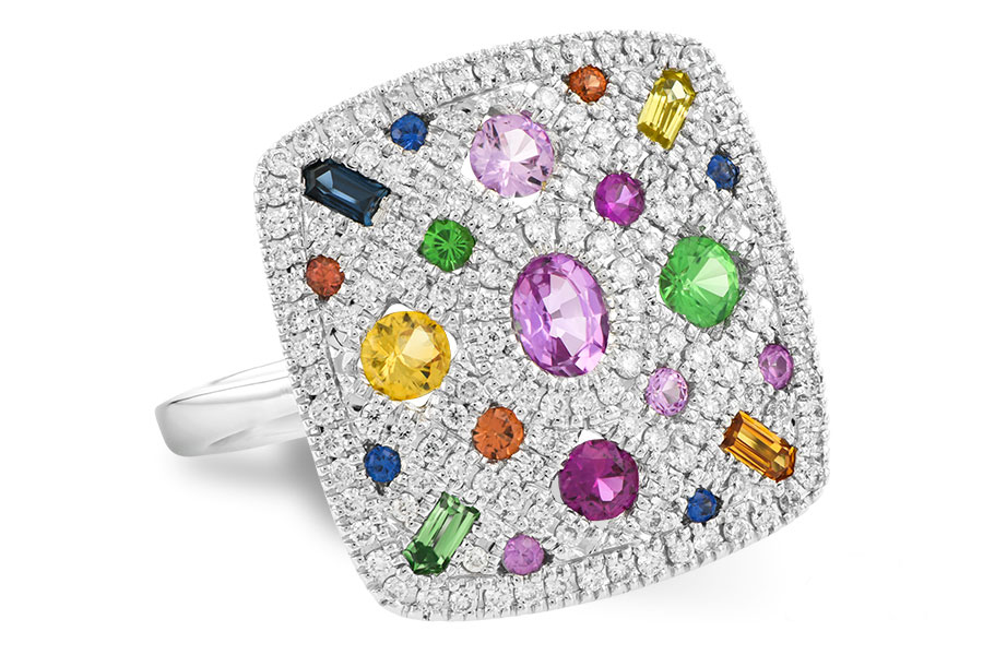D5096  -  0.38 ct dia, Multi-Sapphires Set In 14K White Gold.     List Price: $3,480      Our Price: $2,784