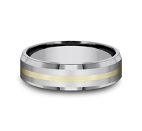CF6642618KYTG  - 6 mm Tungsten & 18K Gold Band.    List Price: $750       Our Price: $500