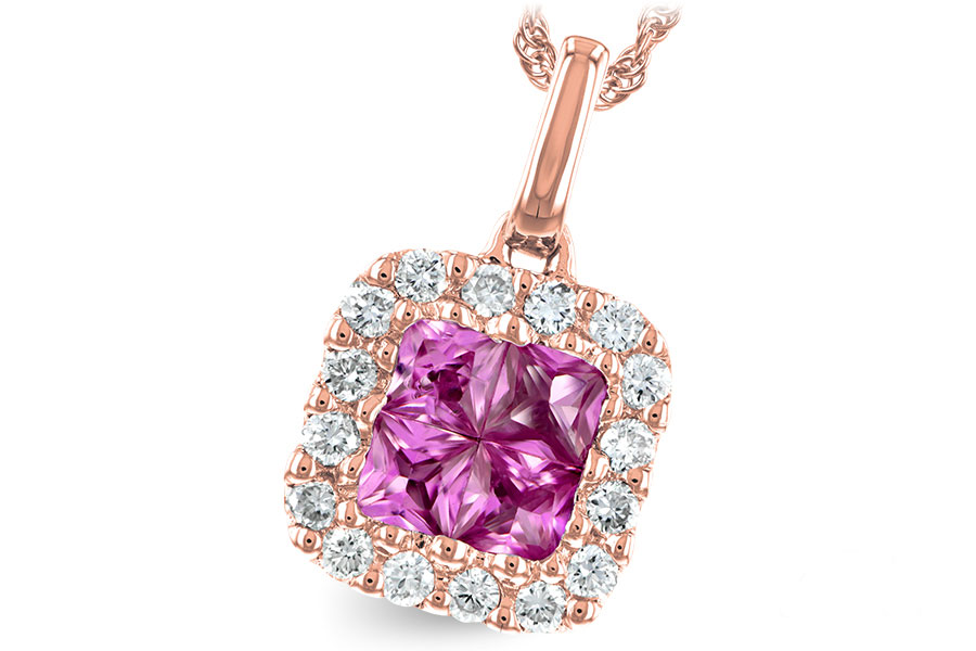 N7649  - 0.50 ct Pink Sapphire Set In A 14K Rose Gold Pendant.    List Price: $1,749      Our Price: $1,399