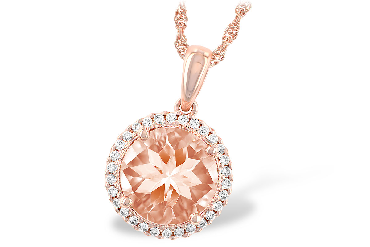 N7771  - 2.07 ct Morganite Set In A 14K Rose Gold Pendant.    List Price: $2,178      Our Price: $1,742