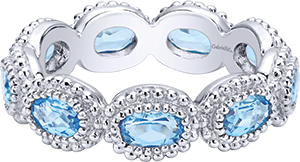 LR5930-7SVJBT  – Blue Stone Set In Sterling Silver Band.  List Price: $150