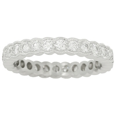 4540W-1CT  - 1.00 ct Set In A 14K White Gold Eternity Band.    List Price: $2,975      Our Price: $2,380