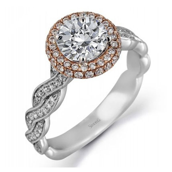 MR2133  - 0.51 ct Set In 18K White & Rose Gold.    List Price: $3,080       Our Price: $2,464