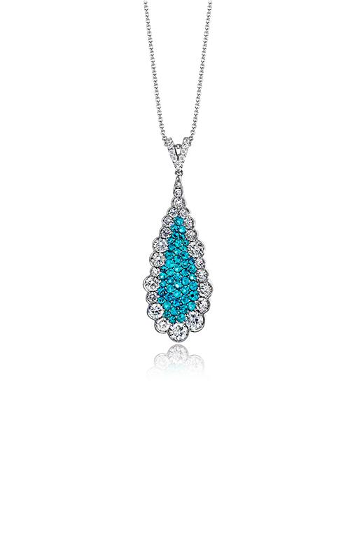 LP4311-A  - 0.60 ct Paraiba Tourmaline & 1.04ct Diamond With 18K White Gold Necklace.    List Price: $6,930      Our Price: $5,544