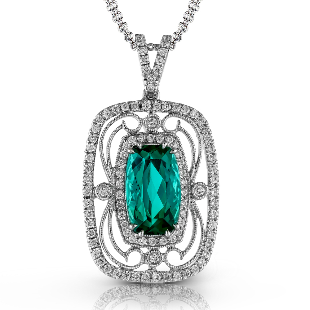 TP226  - 0.55 ct Diamond and 2.96 ct Tourmaline Set In 18K White Gold.    List Price: $5,280      Our Price: $4,224