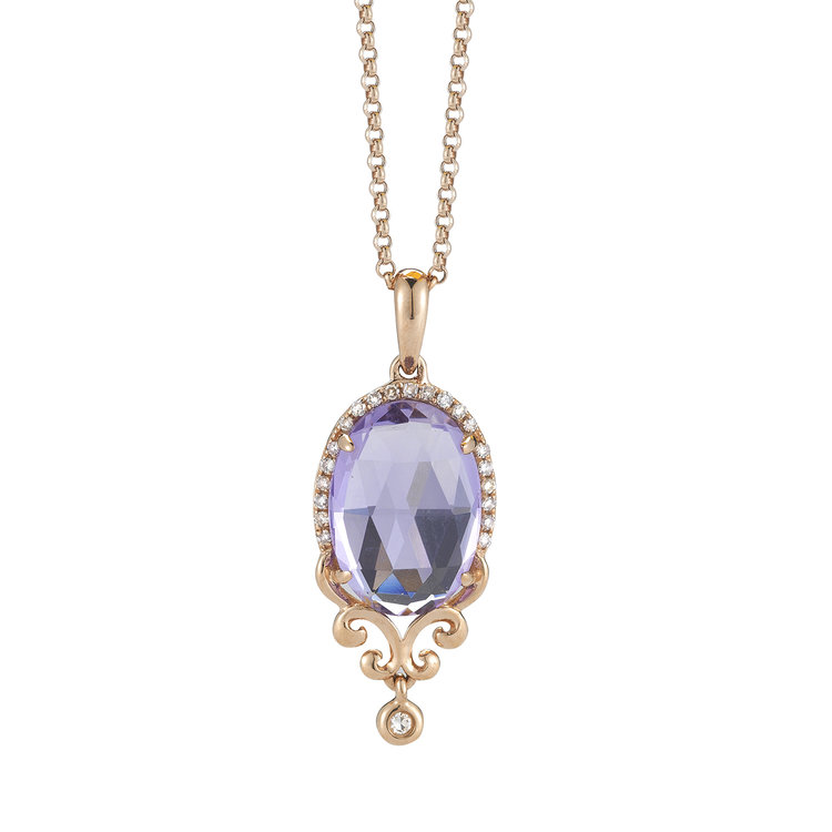 P08839  - 0.08 ct dia, 3 ct Center Set In A 14K Rose Gold Necklace.  List Price: $900    Our Price: $720
