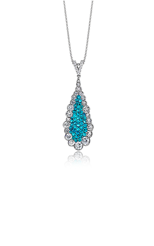 LP4311-A    - 0.60 ct Paraiba Tourmaline & 1.04ct Diamond With 18K White Gold Necklace.    List Price: $6,930      Our Price: $5,544