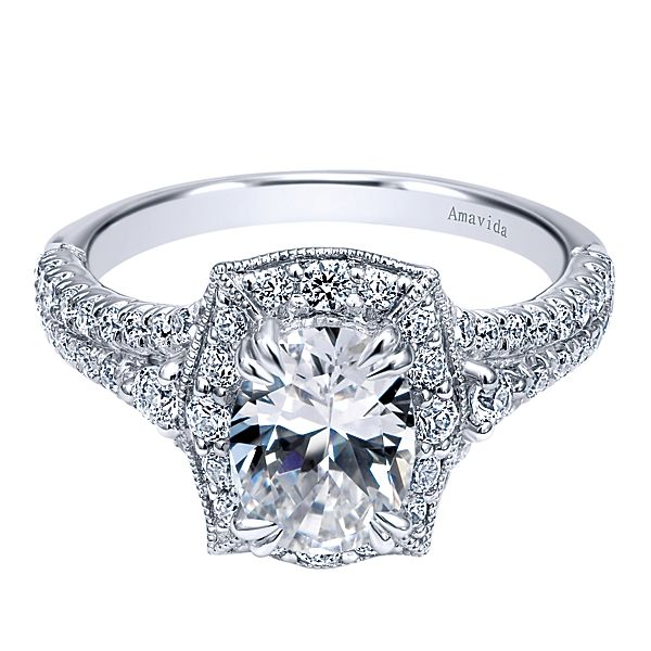 ER10469  – 1.00 CT Center Stone Set In A 0.63 ct Setting In A 18K White Gold Band.  List Price: $2,905