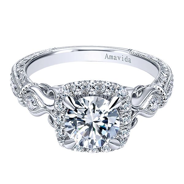ER10238  – 1.00 CT Center Stone Set In A 0.35 ct Setting In A 18K White Gold Band.  List Price: $2,320