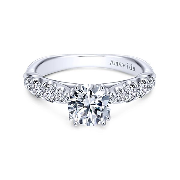 ER11444  – 1.00 CT Center Stone Set In A 0.55 ct Setting In A 18K White Gold Band.  List Price: $2,685