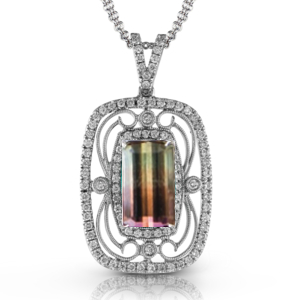 TP226  - 0.55 ct Diamond and 2.96 ct Watermelon Tourmaline Set In 18K White Gold.  List Price: $5,280    Our Price: $4,224