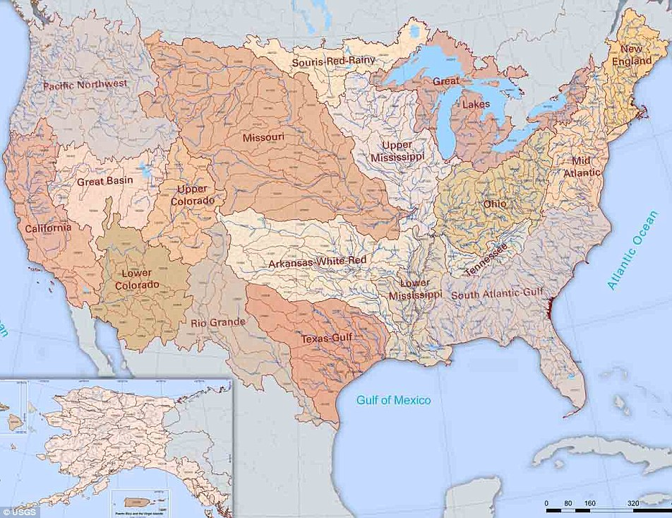There are 18 major river basins in the 48 states of the contiguous US.