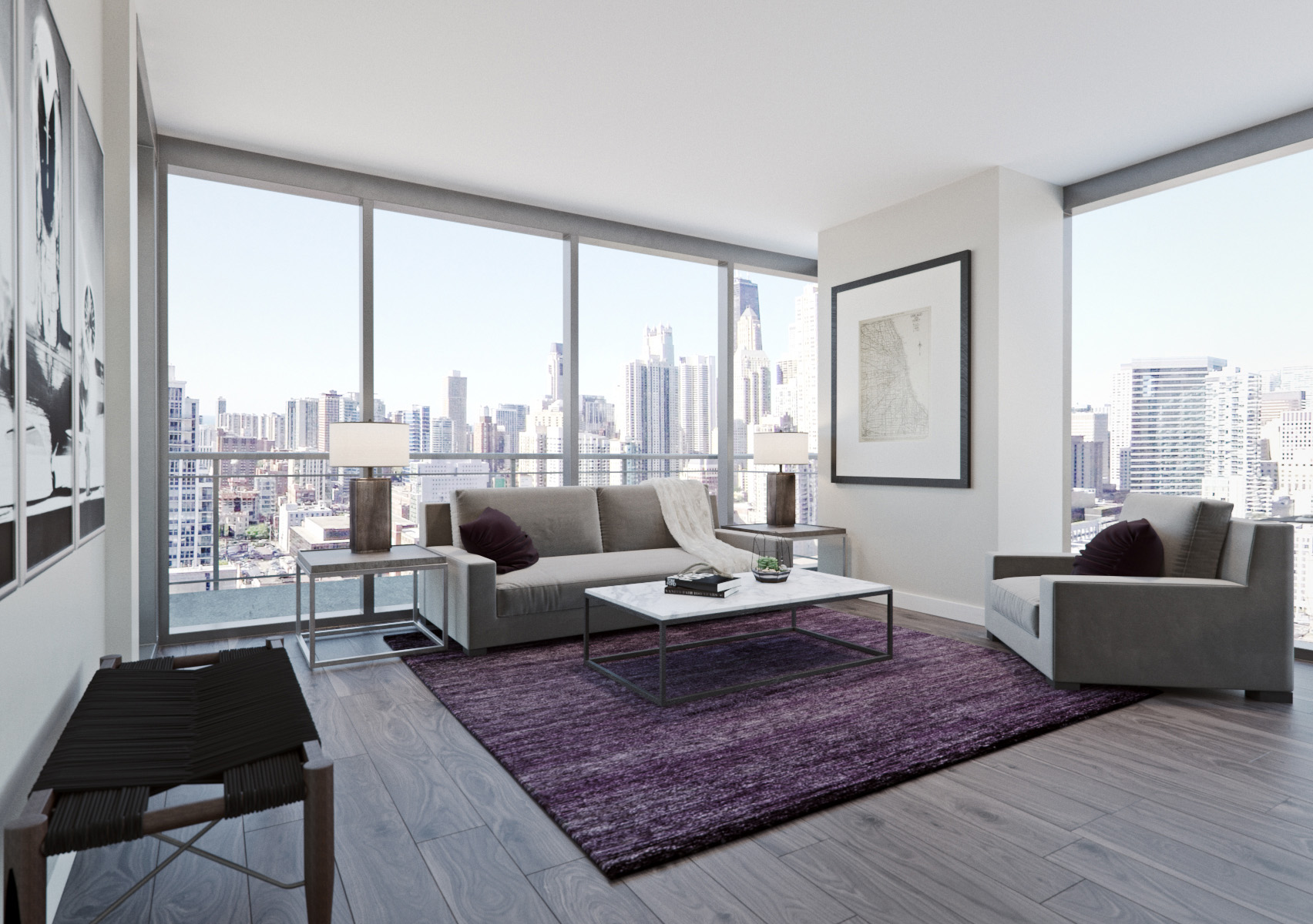 SOPHISTICATED INTERIORS. - + CONTEMPORARY DESIGN TO COMPLIMENT YOUR URBAN LIFESTYLE+ THOUGHTFUL FLOORPLANS WITH SWEEPING VIEWS OF THE CHICAGO SKYLINE+RESIDENCES THAT PROVIDE A REMARKABLE LIFESTYLE.+ CURATED SELECTION OF SUPERIOR FINISHES.