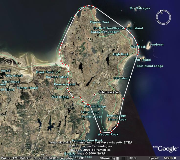 image from the Blackburn Challenge website, featuring the course around Cape Ann