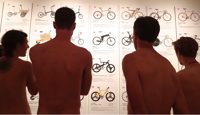 The Portland Art Museum offered ride participants after-hours admission to the bicycle-design exhibit Cyclepedia. With an entrance fee scale that encouraged the full buff — $1 per article of clothing — the museum fully embraced the spirit of the event. (Christina Cooke)