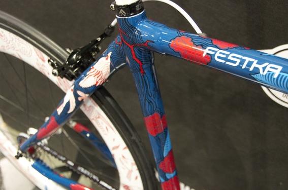 Czech Republic bicycle company  Festka teamed up with Czech illustrators Lukáš Tomek and Ilona Polanská to present a bicycle decorated by hand with acrylic markers. (Christina Cooke)