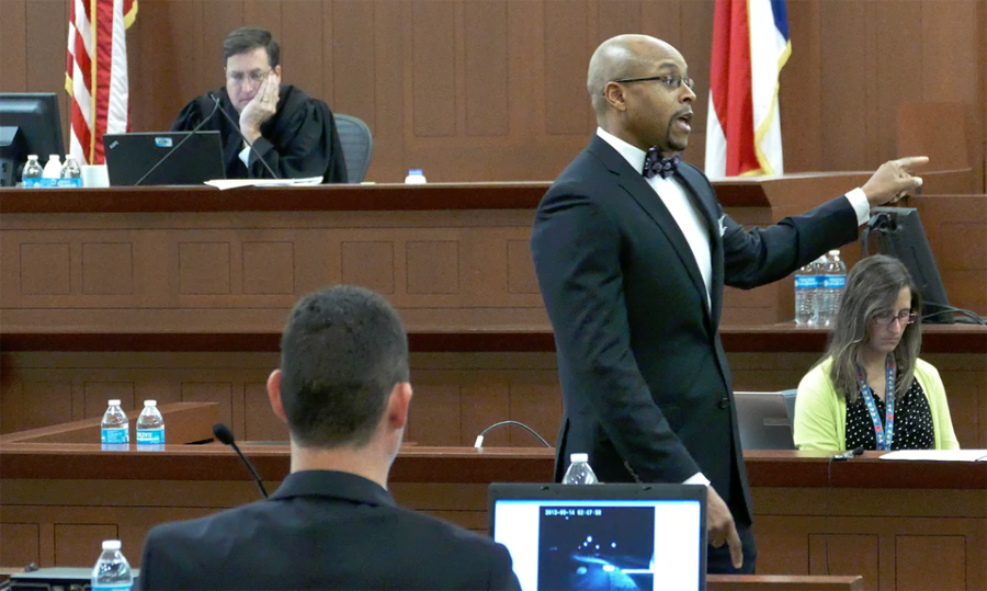 Prosecutor Adren Harris speaks during closing arguments in Randall Kerrick's trial on Tuesday. Photograph: Davie Hinshaw/AP