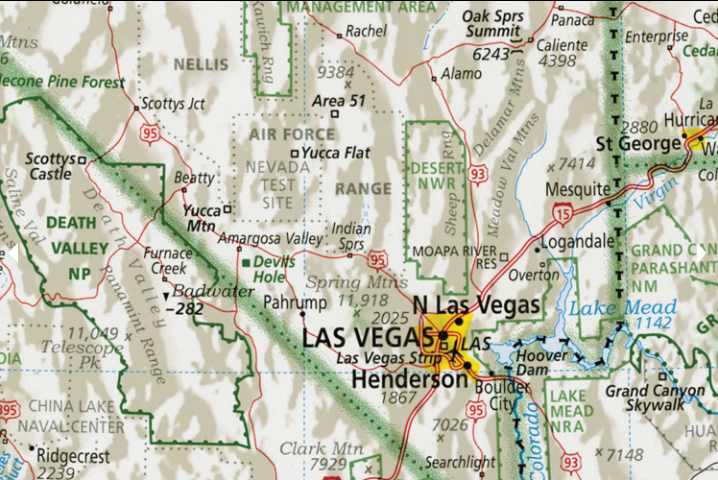 Details include Area 51 and Yucca Flat in Nevada.Imus Geographics