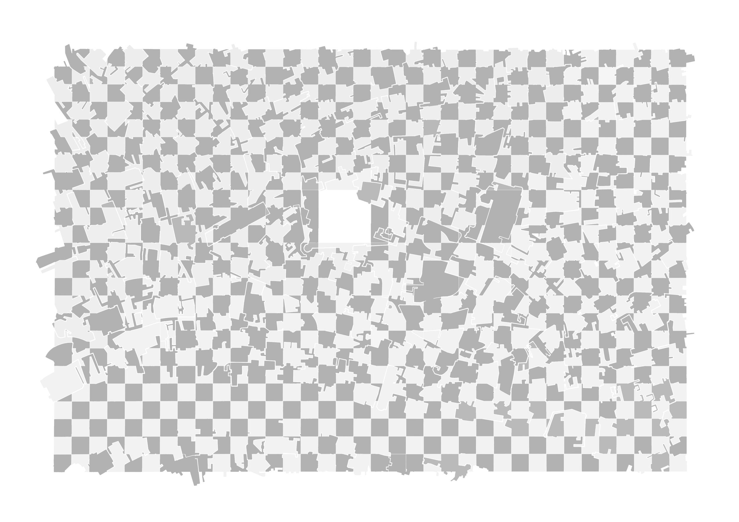 City Of Blocks 1 (2017) - 841 x 594mm, digitally processed hand drawing