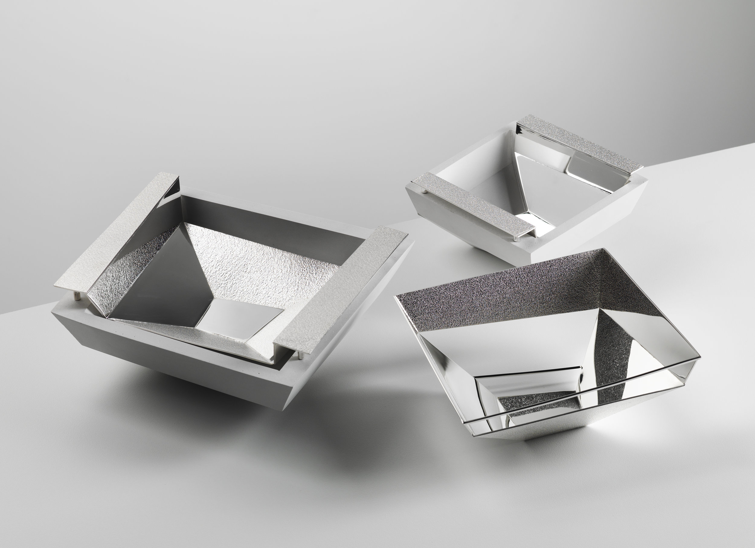 Trio of Textured Sterling Silver and Jesmonite Bowls