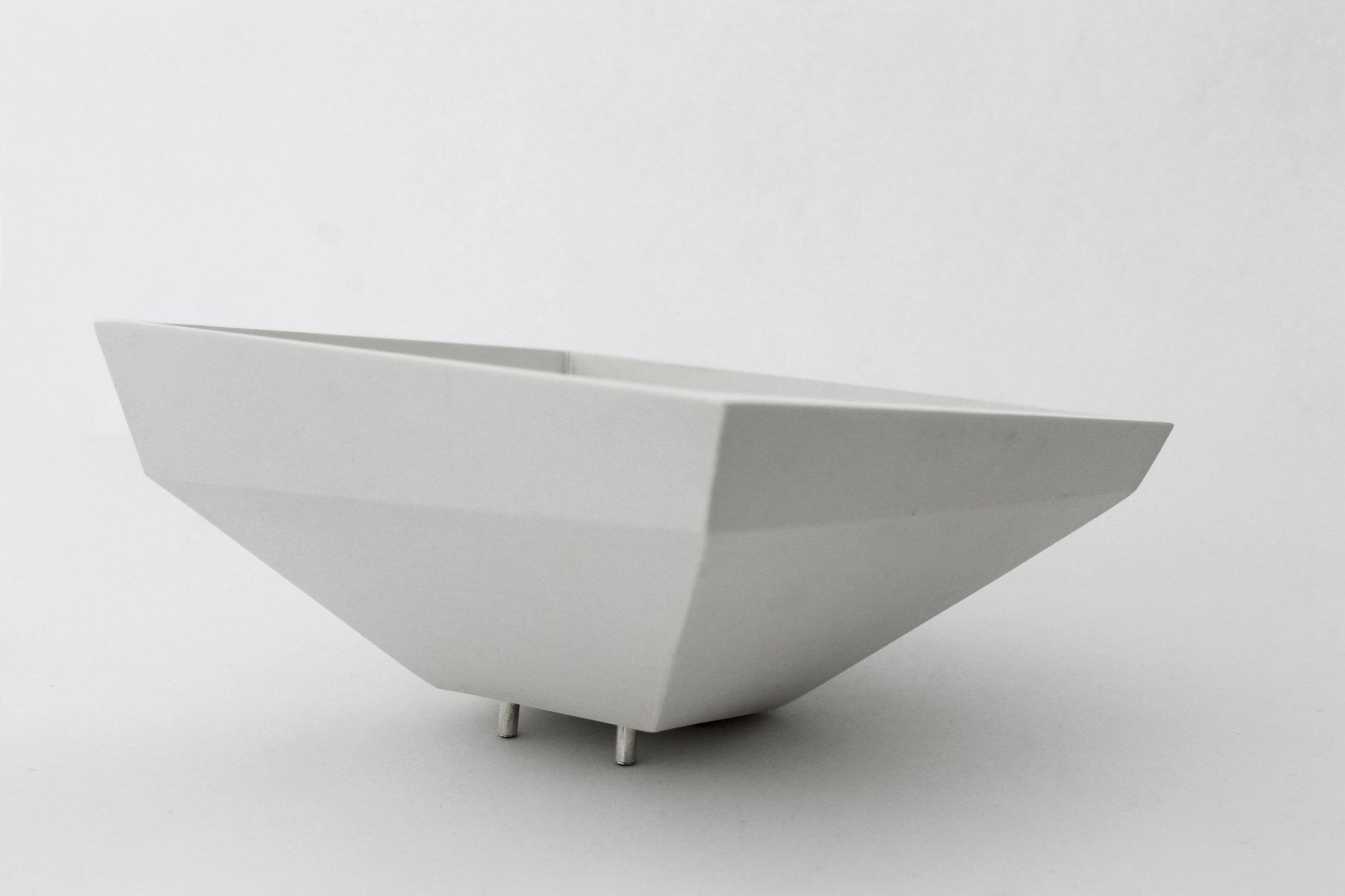 Riveted White Metal and Jesmonite Bowl