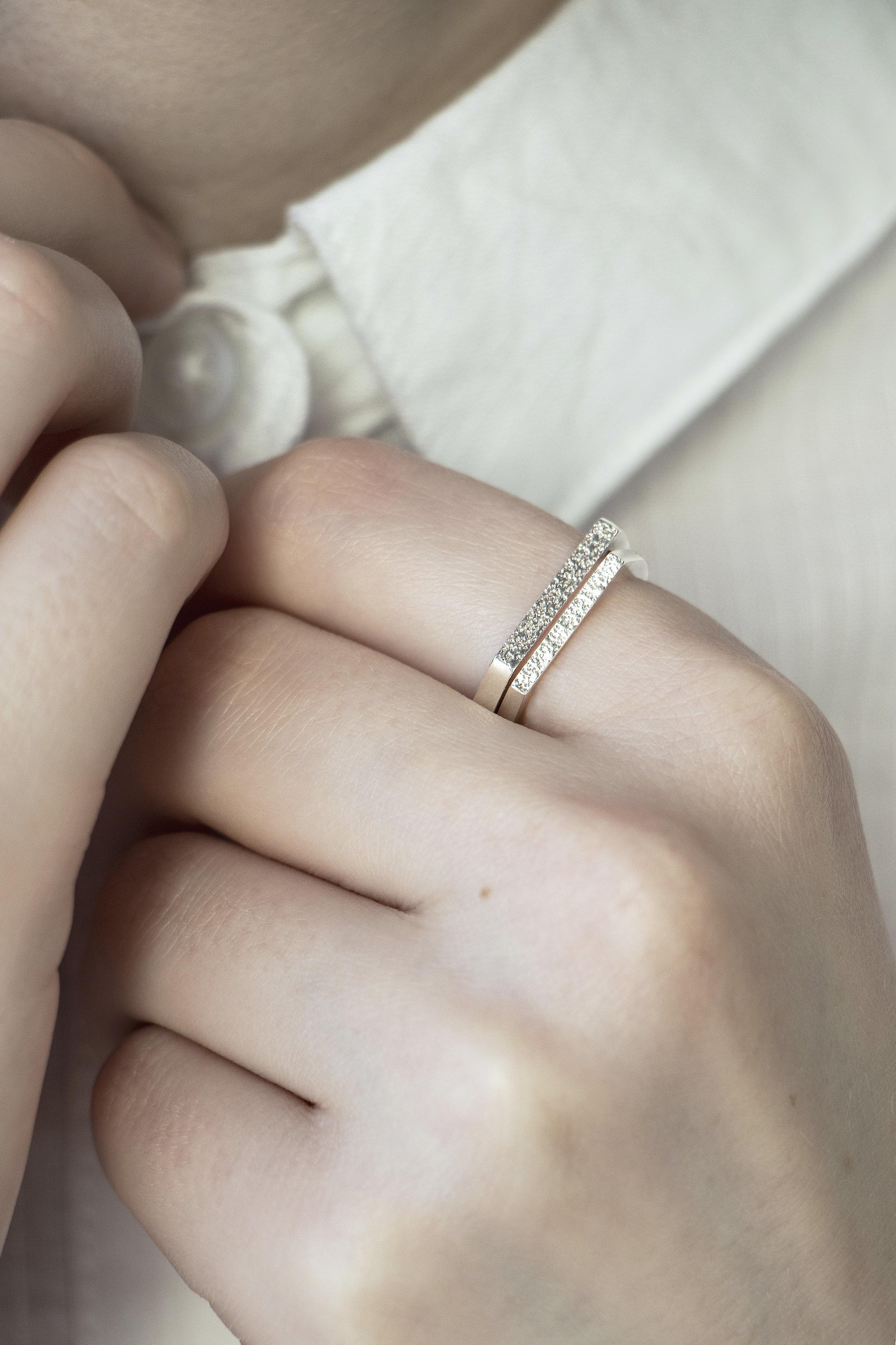 Sterling Silver 'Granite' Rings