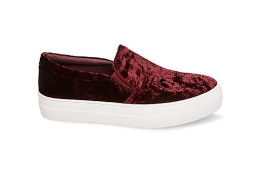 Steve Madden Gills V Burgundy Velvet Sneaker ($89.95)