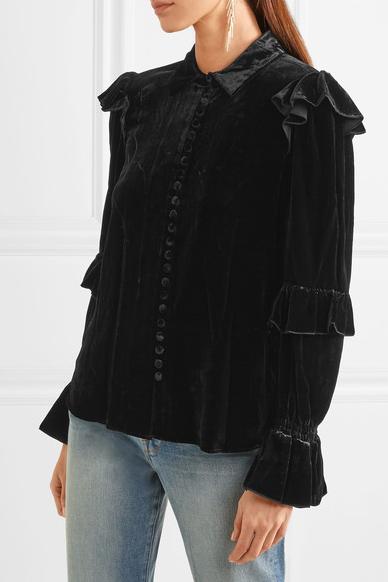 Frame Ruffled Velvet Blouse $325