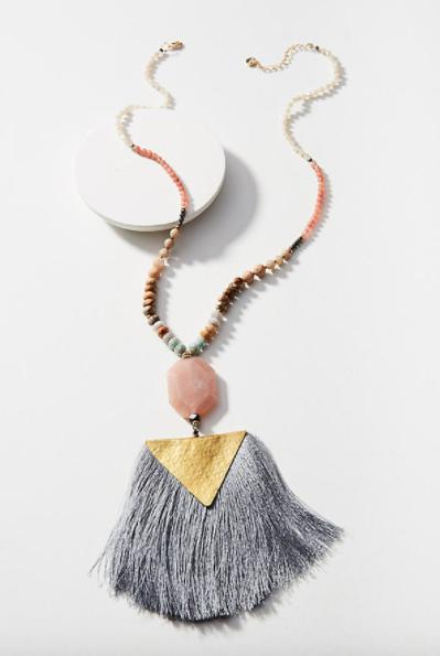 Anthropologie Tassel Triangle Pendant Necklace $78