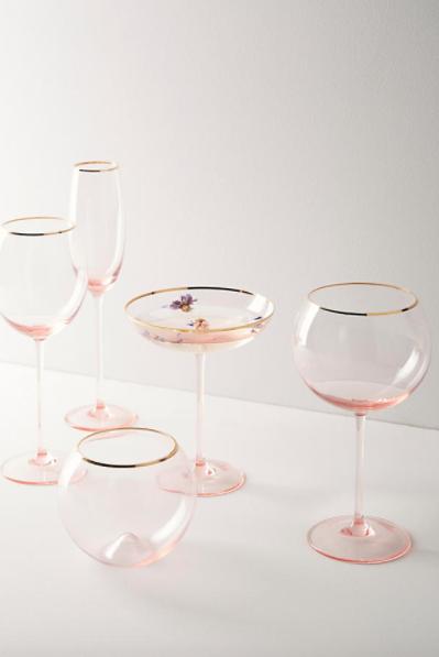 Gilded Rim Glassware $22