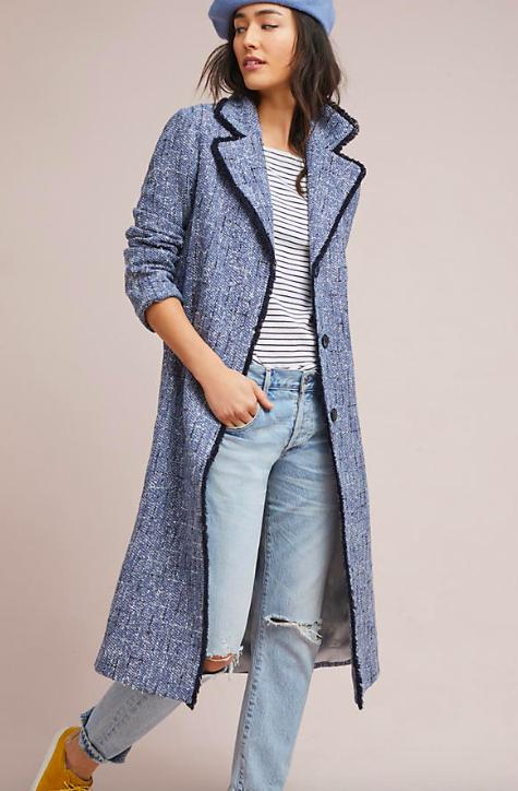 London Tweed Fringed Coat $248
