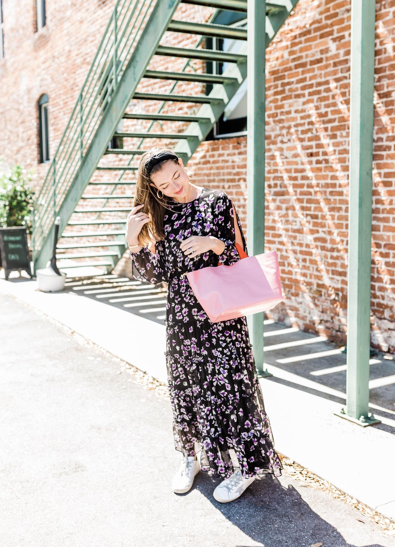 Sabel's Look - What She's Wearing:Golden Goose Tennis ShoesFive & Two Gold HoopsLele Sadoughi HeadbandClare V Handbag