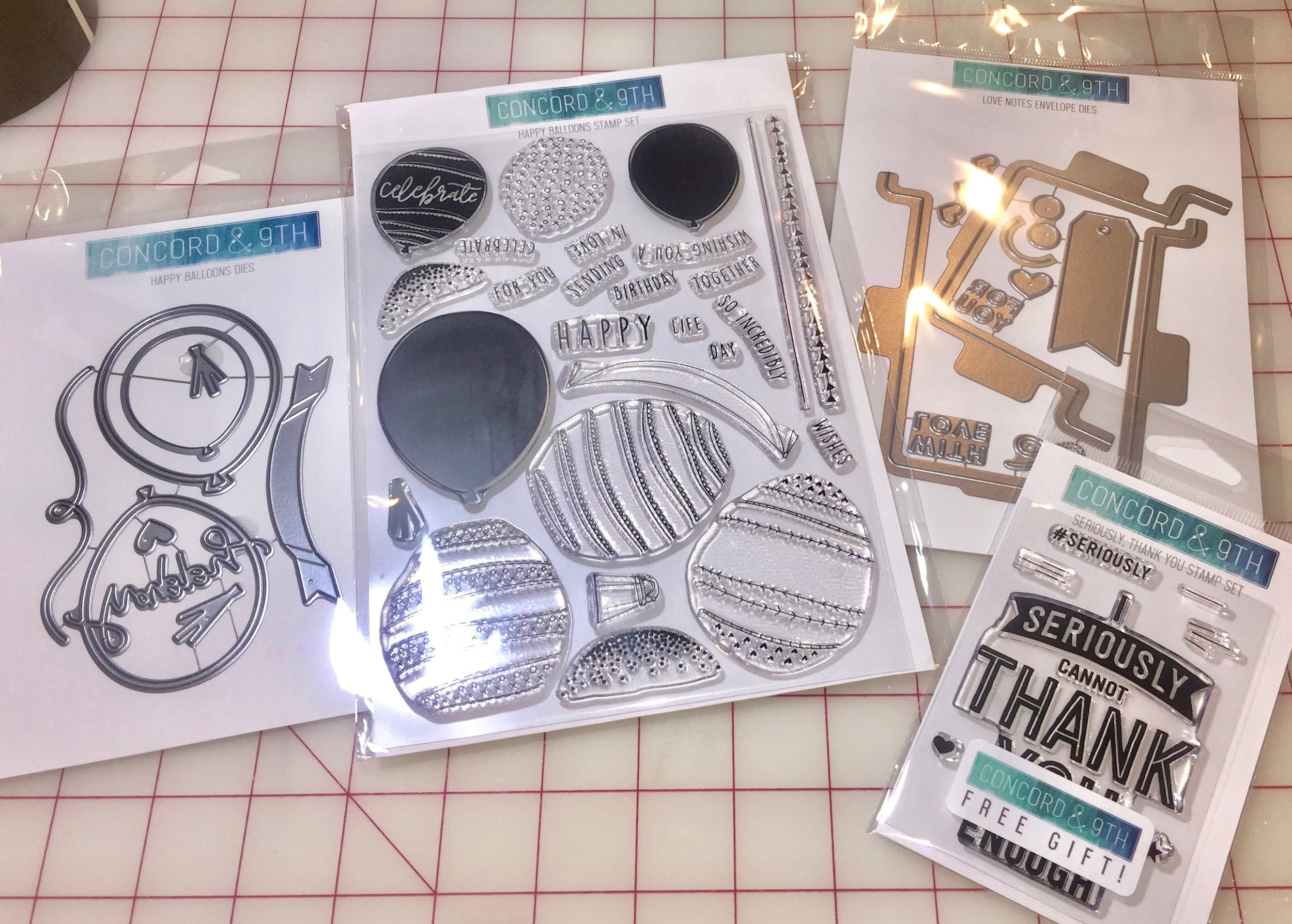 Most recent order: Happy Balloons die and stamp bundle, Love Notes die (on sale!!), and my free gift, Seriously, Thank You stamp set.