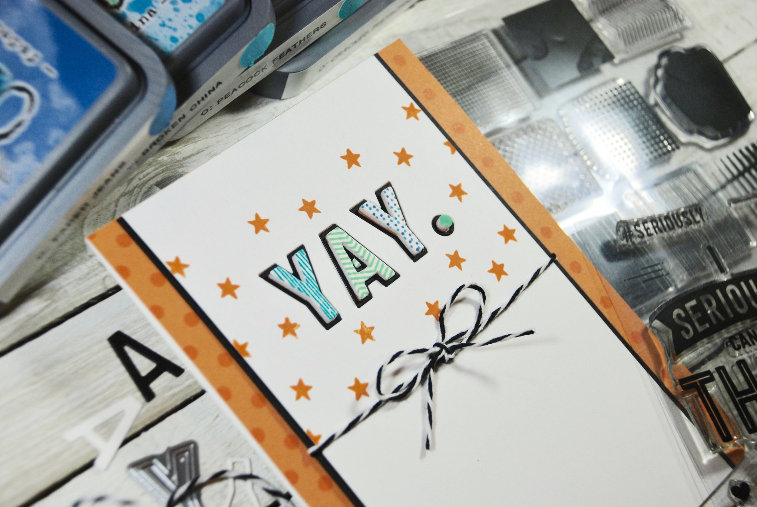 I used the coordinating stamp set with Distress Oxide inks to stamp the letters. The star is from the Seriously, Thank You stamp set.