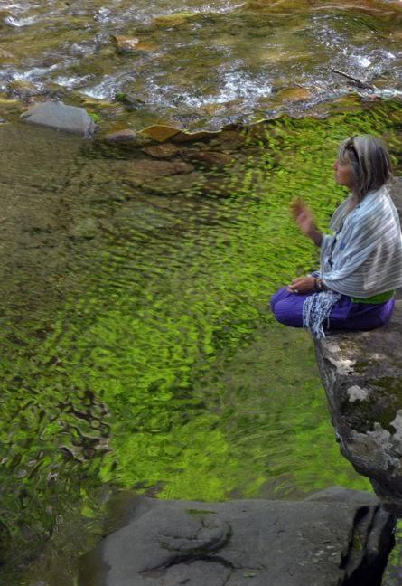 Lindsay working with Deva Spirits at Peekamoose Blue Hole in Catskills, NY