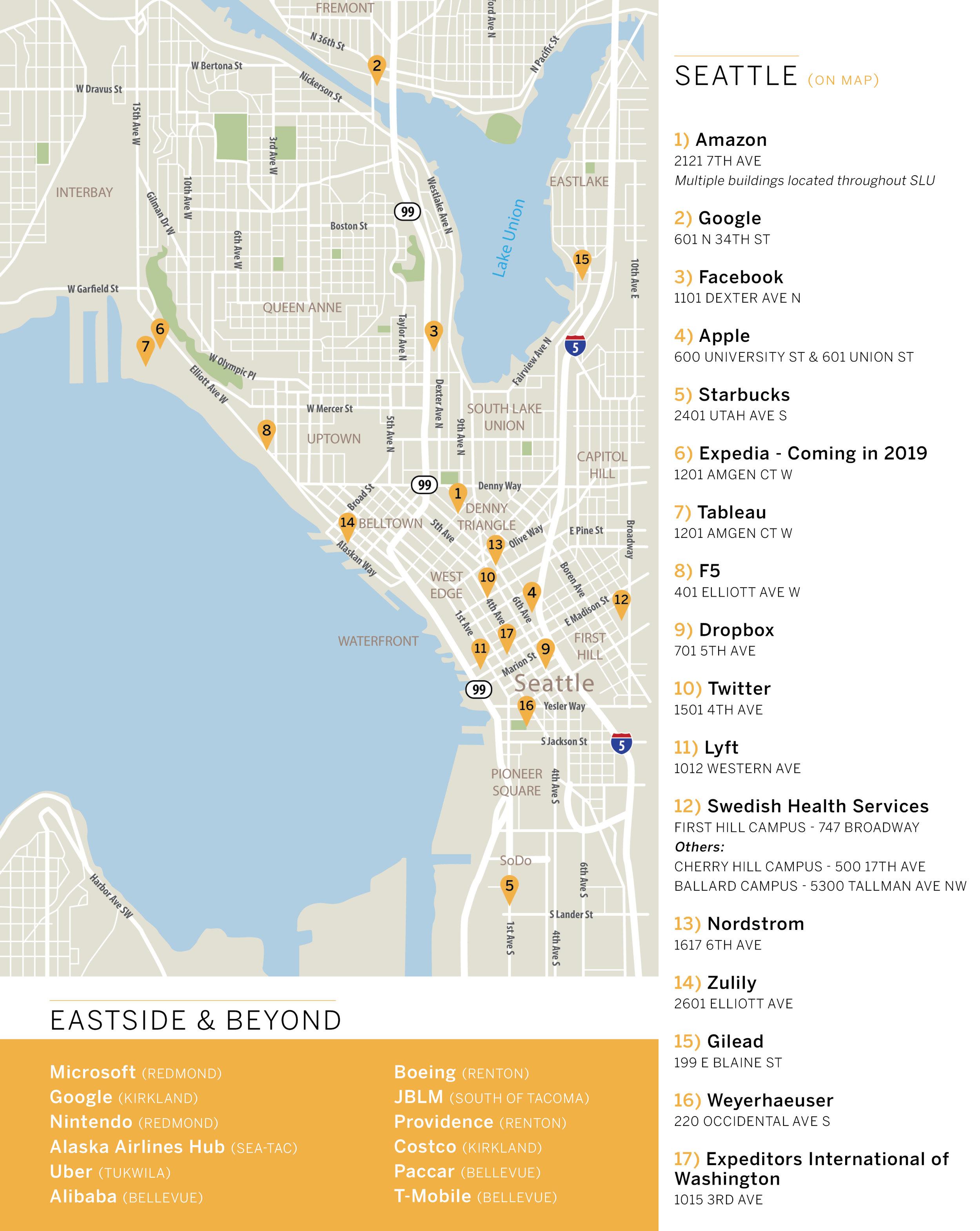 Downtown Seattle Employment Map - Amazon, Google, Facebook, Apple, Starbucks, Expedia, Tableau, F5, Dropbox, Twitter, Lyft, Swedish Medical Services, Nordstrom, Zulily, Gilead, Weyerhaeuser, Expeditors International of Washington